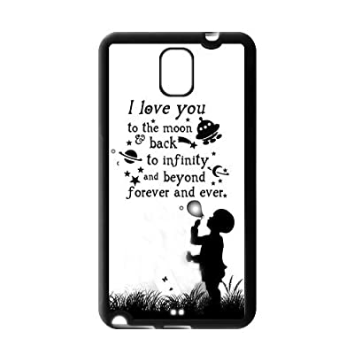 Love Quote I Love You To The Moon And Back Rubber Cell Phone Cover Case for SamSung Galaxy Note 3 from Danny Store