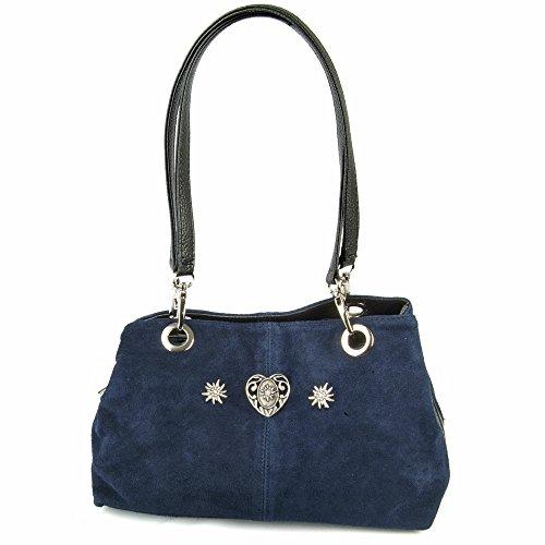Wildleder-Trachten-Handtasche-mit-Herz-Marineblau-Zauberhafte-Schultertasche-zu-Dirndl-und-Lederhose-fr-Oktoberfest-und-Alltag