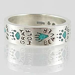 Southwestern Style Animal Track ( Raccoon, Moose, Mountain Lion, Coyote, Beaver, Gray Wolf and Bear ) Band Ring in Sterling Silver with Turquoise Chip Inlay for Men or Women, sizes 5, 6, 7, 8, 9, 10, 11, 12, 13, 14, and 15, #11873