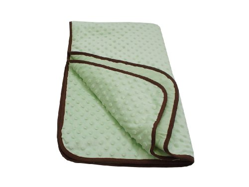 American Baby Company Minky Dot Cradle Comforter with Chocolate Trim, Celery