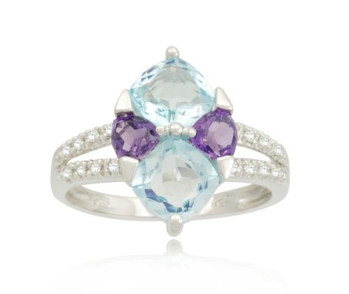 Sterling Silver Marquise Design Multi-Gemstone Diamond Ring (0.09 cttw, I-J Color, I2-I3 Clarity), Size 6