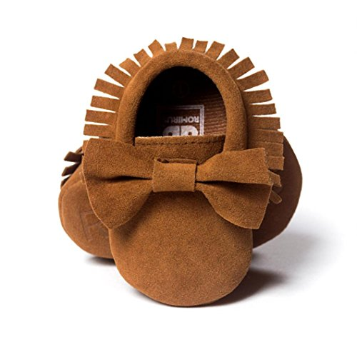 Voberry® Baby Boys Girls Tassel Bow Soft Sole PU Leather Loafers Moccasin Sneakers (6~12 Month, Coffee)