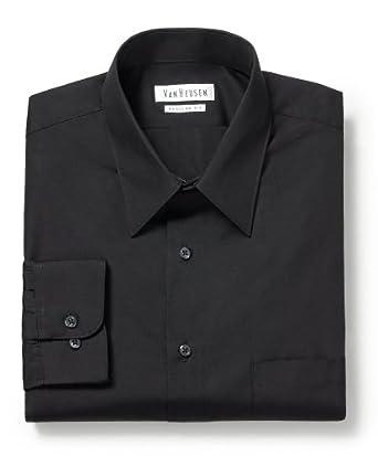 Van Heusen Men's Wrinkle Free Regular Fit Dress Shirt | Black 14 1/2 x 32/33