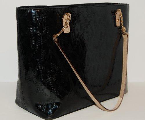MICHAEL Michael KorsMichael Kors Jet Set Black Metallic EW Chain Tote Bag 38t3yjst7o