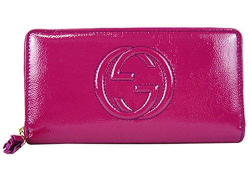 Gucci Soho Leather continental wallet Zipper 308004 Hot Pink Fuschia Patent Leather