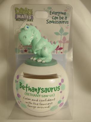 Dinomate Saveasaurus Jar - Bethanysaurus - Bethany * Bank Piggy Save Gift
