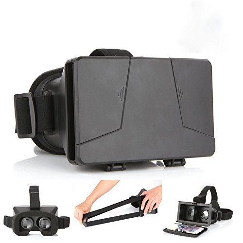 COOLTECH NEW UPDATED! Head-Mounted Universal 3D VR Glasses Video Movie Game Virtual Reality Google Cardboard Viewer with Headband for 3.5~6.0 inch Android and iPhone Smartphones (Cardboard PRO)