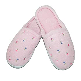 totes ISOTONER Womens Terry Scalloped Embroidered Clog Slippers, XL, Pink