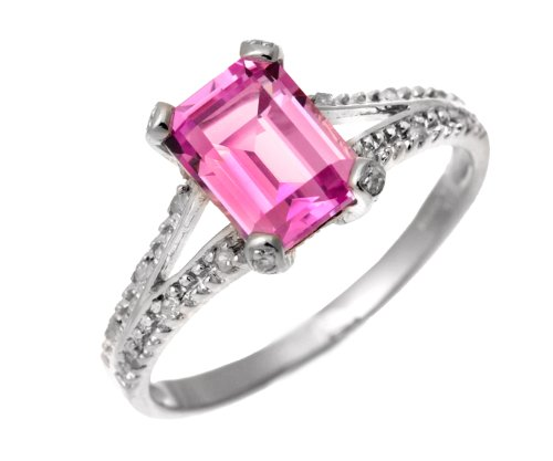 9ct White Gold Emerald Cut Created Pink Sapphire Ring With Diamond Shoulders
