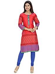 Tanvi Red Cotton Straight Kurti For Women