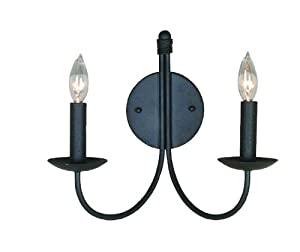 Artcraft Lighting AC3782EB Pot Racks 2-Lite Wall Sconce Light, Black