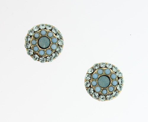 24K Yellow Gold Plated Flower Shaped Earrings by Amaro Jewelry Studio from 'Green Ocean' Collection Decorated with Chrysocolla, Russian Amazonite and Swarovski Crystals; Handmade in Israel