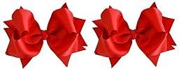 Hair Bow Set for Girls (2) 4.5 inch Grosgrain Ribbon Hair Bows ~ Funny Girl Designs (Red)