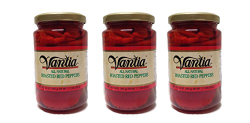 Vantia All Natural Roasted Red Peppers - 3 Glass Jars (Roasted Red Peppers In Water compare prices)