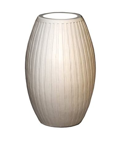 Justice Design Group Limoges 1-Light Tall Egg Accent Lamp with Porcelain Waterfall, Translucent Porcelain