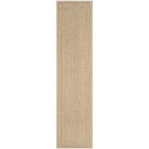Safavieh Natural Fiber Collection NF115A Natural and Beige Seagrass Runner, 2 feet 6 inches by 22 feet (2'6
