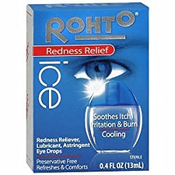 Rohto Ice, Cooling Astringent/Redness Reliever/Lubricant Eye Drops, 0.4 Fluid Ounce