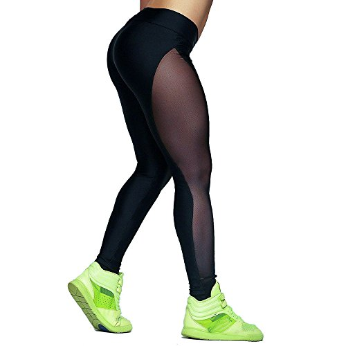 Mesh Yoga Pants Beudvo Outdoor Gym Fitness Elastic Joggers Leggings (L)