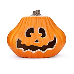 Halloween Children\'s Pumpkin Light,Sayhi- Halloween Pumpkin Light, Trick or Treat Pumpkin Lamp with Warm White Light, Pumpkin Candle Holder,Bar,Party Celebration,7W Bulb Included (14 inches)