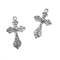 Rainbow Silver Tone Cross with Pattern Findings Jewelry Making, 130 Piece
