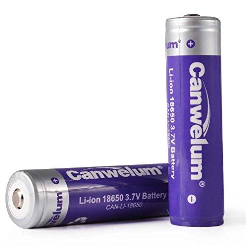 Canwelum Accu 18650 Li-ion Puissant, Batterie 18650 Rechargeable 3.7V, Pile 18650 Lithium-ion avec le Conseil de Protection et une plus Grande Capacit