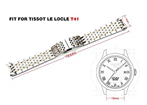 iStrap 19mm Stainless Steel Solid Link Curved End Metal Bracelet for Tissot Le Locle T41.1.423.33 Watch-Rose Gold