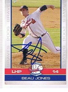 2006 ROME BRAVES # 12 BEAU JONES AUTOGRAPHED CARD ,BRAVES by Bud