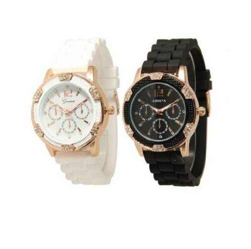 Black and White Rosegold Faux Chronograph Silicone Watch w/ Rhinestones image