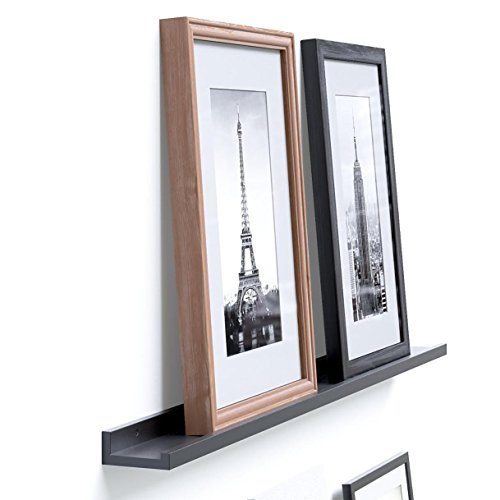 Denver Modern Floating Wall Ledge Shelf for Pictures and Frames 46 Inches Long , Black ...