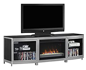 """ClassicFlame 26MM9313-D974 Gotham TV Stand for TVs up to 80"""", Silver/Black (Electric Fireplace Insert sold separately) at Gotham City Store"""