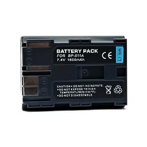 """Batterie BP-511A Li-ion pour CANON EOS 5D - 10D - 20D - 30D - 40D - 50D - 300D - D30 - D60. 100% compatible """"Ultra capacité 1600mAh."""