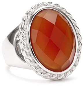ELLE Jewelry Sterling Silver Red Agate Ring, Size 7