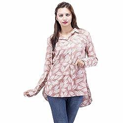 Jaipur Kala Kendra Women's Cotton Printed Full Sleeves Casual Top Shirt Medium Brown