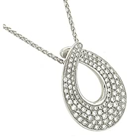 Teardrop Pendant on Wheat Chain Diamond .49cttw H/si: Jewelry from amazon.com