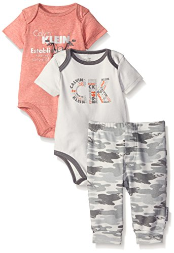 Calvin Klein Baby Boys' 3 Piece Bodysuit and Pant Set, Gray, 6-9 Months