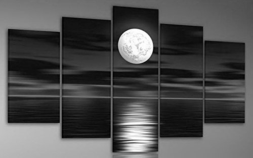 TJie Art Hand Painted Mordern Oil Paintings Black and White Full Moon Night Sea Home Decoration Abstract Landscape Oil Painting Splice 5-piece/set on Canvas