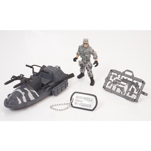 True Heroes Sentinel 1 Action Figure and Vehicle - Steel - Waverunner