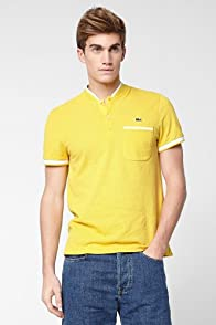 Short Sleeve Collarless Polo With Semi Fancy Detail