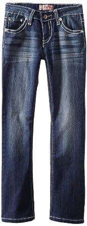 YMI Big Girls' Lurex Stitch Bootcut Jean, Dark Blue, 7