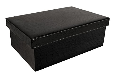 Wald Imports 7109/BLK Embossed Paperboard Box With Lid, Black