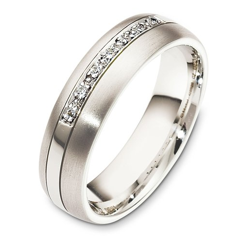 10K White Gold, Single Row Pave 6MM Wedding Band, 1/3 cttw (sz 6)