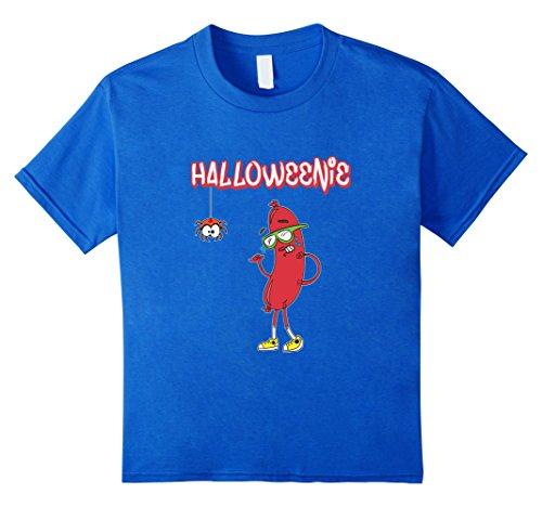 [Kids Halloweenie Funny Spider Hot Dog Weiner Cute Costume T-Shirt 8 Royal Blue] (Funny Weiner Dog Costumes)