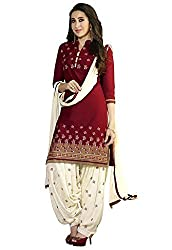 Sanjana Women's Cotton white and maroo Unstitch designer Dress Material (SC9471_Free Size_Maroon & White)