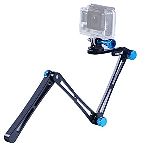 "Smatree® SmaPole X1 Aluminium Foldable Multi-functional Pole / Arm with Tripod Mount Adapter + Thumbscrew + Wrench For Gopro Hero, Hero 4, 3+, 3, 2, 1 hd & Cameras with 1/4"" tripod socket -Blue"