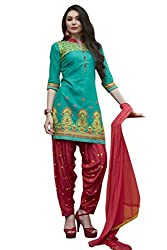 Kvsfab Green & Pink Pure Cotton embroiderd patiala un-stitched dress Material