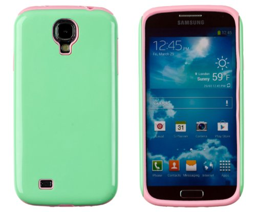 Dandycase 2-Piece Hybrid High Impact Outer Case With Silicone Inner Case For Samsung Galaxy S4 (S Iv, I9500) [Retail Packaging By Dandycase With Free Keychain Lcd Screen Cleaner] (Mint Green & Pink)