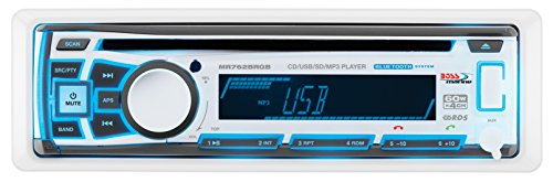 BOSS AUDIO MR762BRGB Marine Single-DIN CD/MP3 Player Receiver, Bluetooth, Detachable Front Panel, Wireless Remote