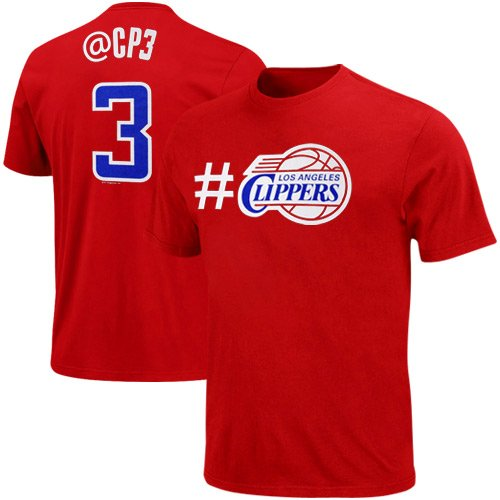NBA Majestic Chris Paul Los Angeles Clippers #3 Youth Twitter T-Shirt – Red (Large)