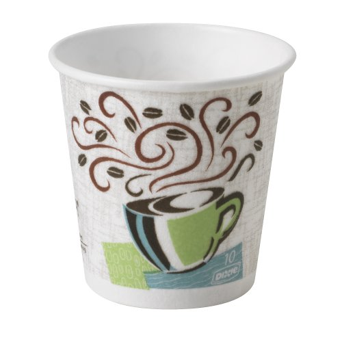 Dixie Polycoated Paper Cup, Hot, 12 oz, Java Design, Brown - 20 sleeves of 50 cups. 1000 per case.