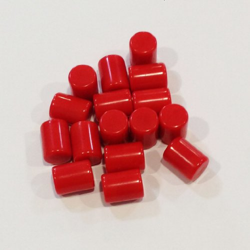Plastic Cylinders: Set of 16 Red Color Board Game Playing Pieces (Tokens & Markers, Colored School Classroom Supplies, Arts & Crafts Projects, Teaching & Education Toy Resource Components, Extra Instructional Play Materials) - 1